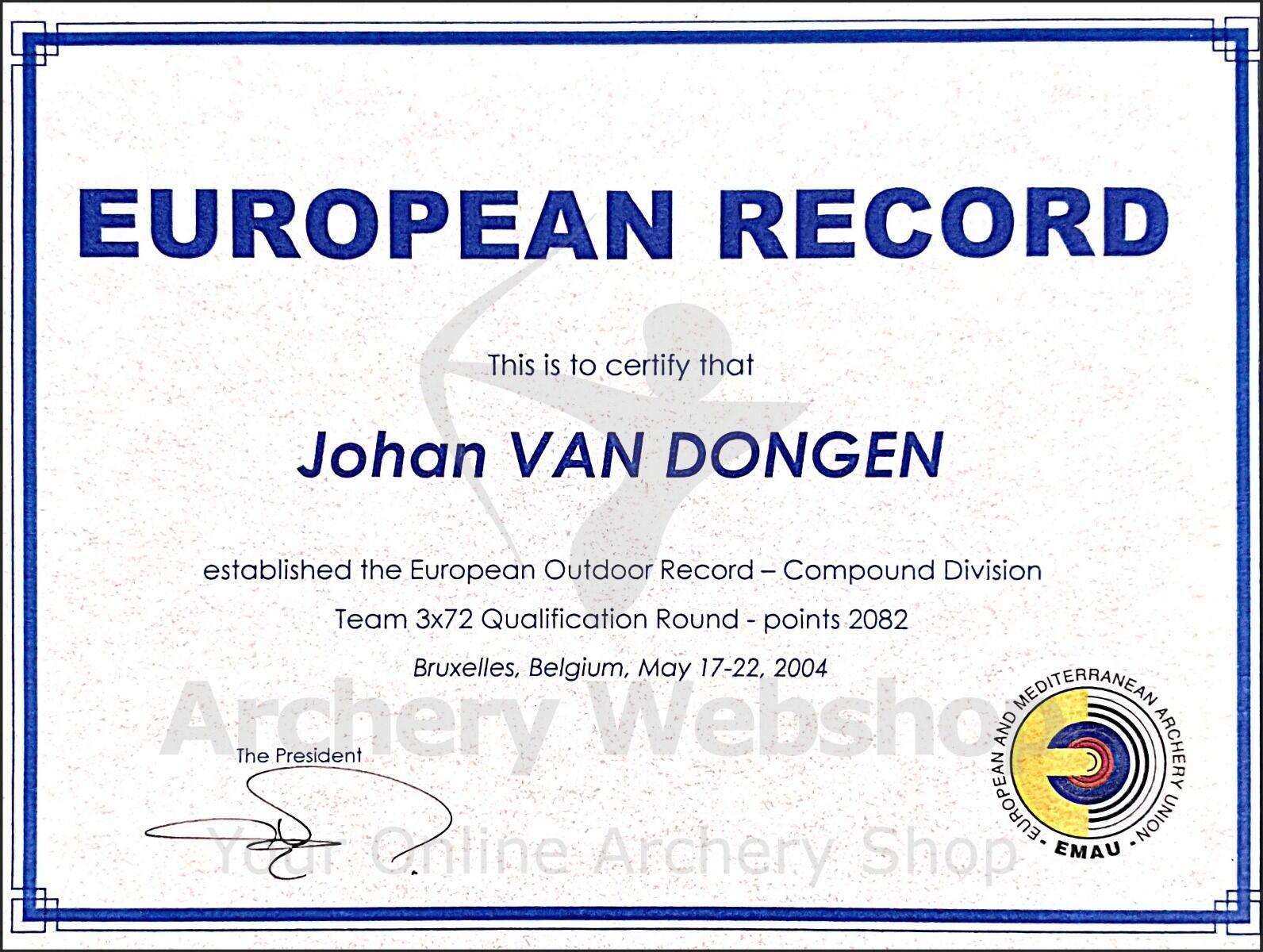 European Record Johan van dongen