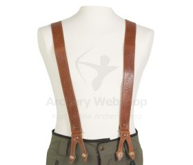 Strele Suspenders Light Brown with Archery Markings